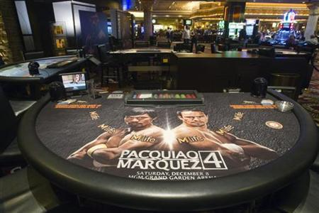 A blackjack table with images of Filipino boxer Manny Pacquiao and Juan Manuel Marquez of Mexico is displayed on the casino floor at the MGM Grand in Las Vegas, Nevada December 5, 2012. REUTERS/Las Vegas Sun/Steve Marcus/Files