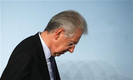 Italian Prime Minister Mario Monti leaves after a media conference at the Chigi palace in Rome December 6, 2012. Monti's government won a confidence vote in the lower house of parliament on Thursday but the centre-right party of former premier Silvio Berlusconi abstained after earlier walking out of a confidence vote in the Senate. REUTERS/Stefano Rellandini (ITALY - Tags: POLITICS)