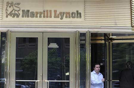 A man walks out from the Merrill Lynch building in New York, May 7, 2012. REUTERS/Keith Bedford