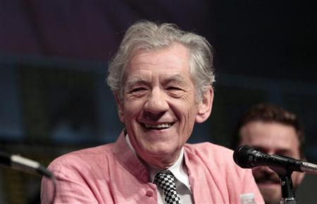 Cast member Ian McKellen smiles during a panel for the film ''The Hobbit: An Unexpected Journey'' during the Comic Con International convention in San Diego, California July 14, 2012. REUTERS/Mario Anzuoni