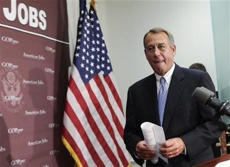 U.S. House Speaker John Boehner (R-OH) arrives at a news conference on the fiscal cliff, after a closed GOP meeting at Capitol Hill in Washington, December 5, 2012. REUTERS/Yuri Gripas