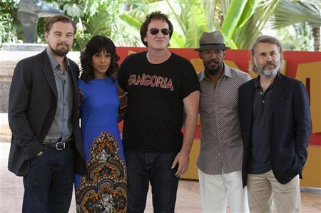 Director Quentin Tarantino (C) poses with (L-R) U.S actors Leonardo DiCaprio, Kerry Washington, Jamie Foxx and Austrian actor Christoph Waltz, during the launch of their film ''Django Unchained'' in Cancun April 15, 2012. REUTERS/Victor Ruiz Garcia