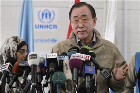 United Nations (U.N.) Secretary-General Ban Ki-moon speaks to the media during his visit to Al Zaatri refugee camp, in the Jordanian city of Mafraq, near the border with Syria December 7, 2012. REUTERS/Muhammad Hamed