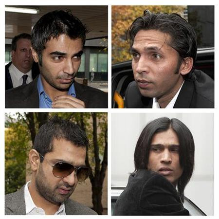 A combination photo shows former Pakistan cricket captain Salman Butt (top L), cricketers Mohammad Asif (top R), Mohammad Amir (bottom R) and agent Mazhar Majeed arriving for their sentencing at Southwark Crown court in London November 3, 2011. REUTERS/Philip Brown