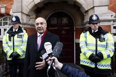 MP Keith Vaz addresses the media outside Westminster Coroner's Court following an inquest hearing into the death of a British nurse who committed suicide after being taken in by a prank call to a hospital treating Prince William's pregnant wife Catherine, Duchess of Cambridge, in London December 13, 2012. Nurse Jacintha Saldanha's committed suicide after being taken in by a prank call to the hospital, police said on Thursday. REUTERS/Stefan Wermuth