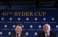 Golfer Tom Watson (L) and PGA of America president Ted Bishop speak to the press after Watson is introduced as the Ryder Cup captain in New York, December 13, 2012. REUTERS/Brendan McDermid