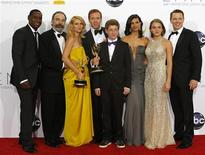 """The cast of """"Homeland"""" L-R: David Harewood, Mandy Patinkin, Claire Danes, Damian Lewis, Jackson Pace, Morena Baccarin, Morgan Saylor and Diego Klattenhoff, pose after the series won the Emmy award for outstanding drama series at the 64th Primetime Emmy Awards in Los Angeles September 23, 2012. REUTERS/Mario Anzuoni"""