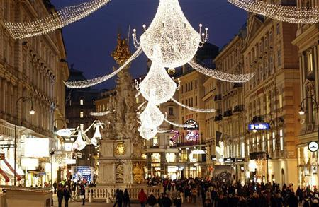 christmas lights illuminate viennas city centre am graben november 24 2011 reuterslisi niesner