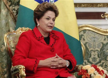 Brazilian President Dilma Rousseff speaks during her meeting with Russian President Vladimir Putin in Moscow's Kremlin December 14, 2012. REUTERS/Maxim Shemetov