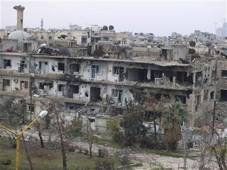 Damaged buildings are seen in al-Bayada district in Homs December 13, 2012. Picture taken December 13, 2012. REUTERS/Yazan Homsy (SYRIA - Tags: CONFLICT CITYSCAPE)