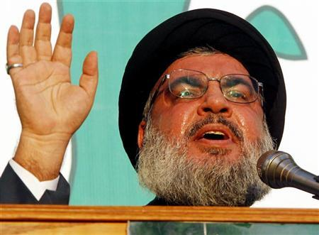 Lebanon's Hezbollah leader Sayyed Hassan Nasrallah addresses his supporters during a public appearance at an anti-U.S. protest in Beirut's southern suburbs September 17, 2012. REUTERS/Sharif Karim