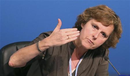 EU commissioner for Climate Action Connie Hedegaard speaks during the United Nations Climate Change (COP18) Conference in Doha December 3, 2012. REUTERS/Fadi Al-Assaad