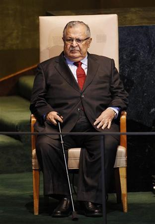 Iraq's President Jalal Talabani waits to address the 66th session of the United Nations General Assembly at the U.N. headquarters in New York September 23, 2011. REUTERS/Mike Segar