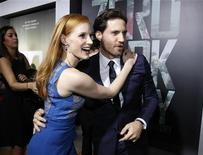 """Cast members Jessica Chastain and Edgar Ramirez greet each other at the premiere of """"Zero Dark Thirty""""at the Dolby theatre in Hollywood, California December 10, 2012. REUTERS/Mario Anzuoni"""