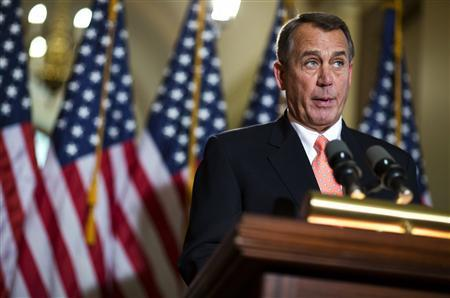 U.S. House Speaker John Boehner speaks during a media briefing about Republican plans on the pending ''fiscal cliff'' on Capitol Hill in Washington December 19, 2012. REUTERS/Joshua Roberts