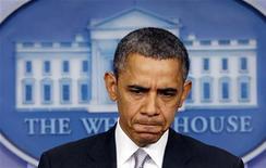 Presidente norte-americano Barack Obama fala durante coletiva coletiva na sala de imprensa da Casa Branca. Obama determinou nesta quarta-feira a uma comissão ministerial que lhe entregue até o mês que vem recomendações sobre como endurecer as regras para a regulamentação de armas, numa reação ao massacre da semana passada em uma escola primária de Connecticut. 19/12/2012 REUTERS/Kevin Lamarque