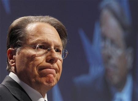 CEO of the National Rifle Association Wayne LaPierre reacts during the 38th annual Conservative Political Action Conference (CPAC) meeting at the Marriott Wardman Park Hotel in Washington, February 10, 2011. REUTERS/Larry Downing