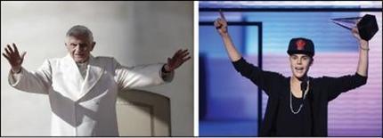 Le pape Benoît XVI, 85 ans, récemment converti à Twitter, bat le jeune chanteur canadien Justin Bieber, 18 ans, en pourcentage de tweets rediffusés par ses abonnés. /Photos prise le 7 novembre 2012 et le 18 novembre 2012/REUTERS/Tony Gentile et Danny Moloshok