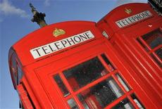 Telephone boxes are seen in central London November 11, 2010. REUTERS/Toby Melville