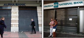 Deux des principales banques grecques, National Bank et Alpha Bank, ont annoncé vendredi avoir creusé leurs pertes sur les neuf premiers mois de l'année, conséquence de l'impact sur leurs portefeuilles de prêts de la grave récession dans laquelle se trouve l'économie hellénique. /Photos d'archives/REUTERS/John Kolesidis et Yorgos Karahalis