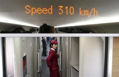 An attendant stands inside a high-speed train during an organized experience trip from Beijing to Zhengzhou, as part of a new rail line, December 22, 2012. China will open the world's longest high-speed rail line next week when a link between Beijing and the southern metropolis of Guangzhou is inaugurated, officials said on Saturday. REUTERS/China Daily