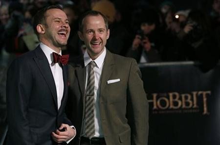 Actors Dominic Monaghan (L) and Billy Boyd arrive for the royal premiere of the film ''The Hobbit - An Unexpected Journey'' in central London December 12, 2012 REUTERS/Luke MacGregor