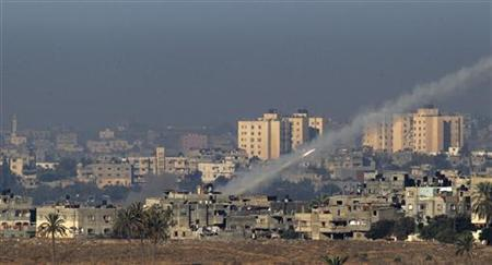 A rocket is seen after its launch from the northern Gaza Strip towards Israel November 15, 2012. REUTERS/Ronen Zvulun