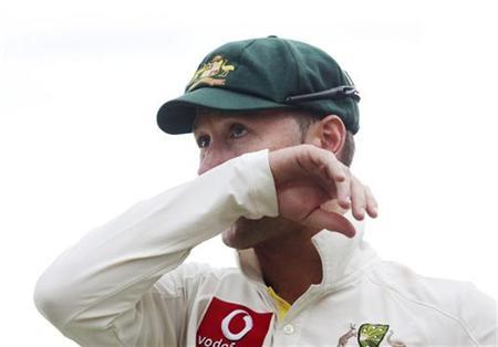 Australia's captain Michael Clarke reacts as he stands on the Adelaide cricket ground at the end of the fifth day's play of the second test cricket match against South Africa November 26, 2012. REUTERS/Regi Varghese/Files