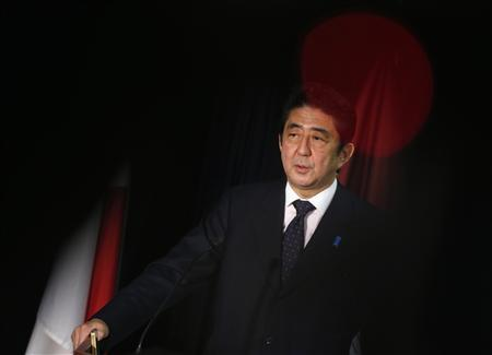 Japan's incoming Prime Minister and the leader of Liberal Democratic Party (LDP) Shinzo Abe attends a news conference at the LDP headquarters in Tokyo December 25, 2012. REUTERS/Issei Kato