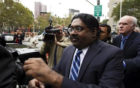 Galleon hedge fund founder Raj Rajaratnam departs Manhattan Federal Court after his sentencing in New York October 13, 2011. REUTERS/Lucas Jackson