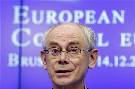 European Council President Herman Van Rompuy addresses a news conference after a European Union leaders summit in Brussels December 14, 2012. REUTERS/Francois Lenoir
