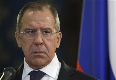 Russia's Foreign Minister Sergei Lavrov attends a news conference after a meeting with his Egyptian counterpart Mohamed Kamel Amr (not pictured) in Moscow December 28, 2012. REUTERS/Sergei Karpukhin