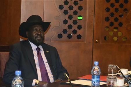 South Sudan's President Salva Kiir sits at the meeting table at the Sheraton hotel in Ethiopia's capital Addis Ababa September 25, 2012. REUTERS/Tiksa Negeri