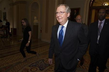 U.S. Senate Minority Leader Mitch McConnell (R-KY) leaves the Senate Chamber for the caucus at the U.S. Capitol in Washington December 30, 2012. REUTERS/Mary Calvert