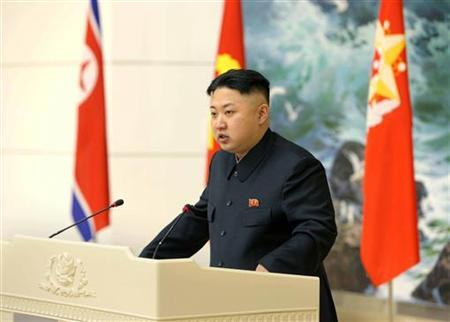 North Korean leader Kim Jong-un speaks during a banquet held for scientists, engineers, workers and officers who took part in the launch of the Unha-3 (Milky Way 3) rocket, which carried the second version of Kwangmyongsong-3 satellite, in Pyongyang in this picture released by the North's KCNA news agency December 22, 2012. REUTERS/KCNA