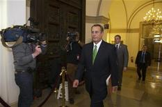 """Speaker of the House John Boehner (R-OH) arrives at the U.S. Capitol in Washington January 1, 2013. The Senate moved the U.S. economy back from the edge of a """"fiscal cliff"""" on Tuesday, voting to avoid imminent tax hikes and spending cuts in a bipartisan deal that could still face stiff challenges in the House of Representatives. REUTERS/Mary F. Calvert"""