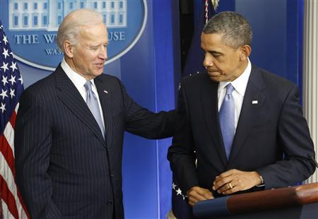 U.S. Vice President Joe Biden (L) and President Barack Obama (R) depart following Obama's remarks after the House of Representatives acted on legislation intended to avoid the ''fiscal cliff,'' at the White House in Washington January 1, 2013. The Republican-controlled House backed a tax hike on the top U.S. earners shortly before midnight on Tuesday, ending weeks of high-stakes budget brinkmanship that threatened to spook consumers and throw financial markets into turmoil. REUTERS/Jonathan Ernst