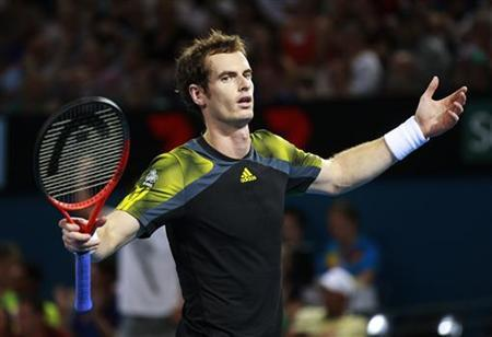 Andy Murray of Britain reacts after missing a point against John Millman of Australia during their men's singles match at the Brisbane International tennis tournament January 3, 2013. REUTERS/Daniel Munoz
