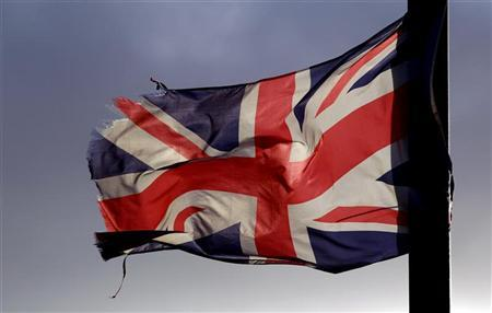 A Union flag flies from a lamp post in the Shankill Road area of West Belfast December 7, 2012. REUTERS/Cathal McNaughton