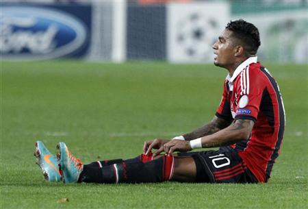 AC Milan's Kevin-Prince Boateng reacts during their Champions League Group C soccer match against Anderlecht at the Constant Vanden Stock stadium in Brussels November 21, 2012. REUTERS/Sebastien Pirlet