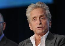 """Actor Michael Douglas takes part in a panel discussion of HBO's """"Behind The Candelabra"""" during the 2013 Winter Press Tour for the Television Critics Association in Pasadena, California, January 4, 2013. REUTERS/Gus Ruelas"""