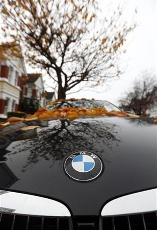 Fallen autumn leaves are seen on the bonnet of a BMW parked in a street in London November 16, 2012. REUTERS/Russell Boyce (BRITAIN - Tags: TRANSPORT BUSINESS ENVIRONMENT)
