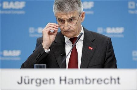 Juergen Hambrecht, CEO of German chemical company BASF, attends the annual news conference in Ludwigshafen February 25, 2010. REUTERS/Johannes Eisele (GERMANY - Tags: BUSINESS SCI TECH)