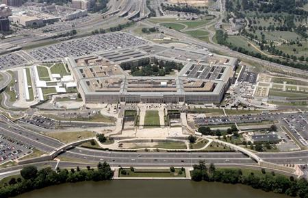 An aerial view of the Pentagon building in Washington, June 15, 2005, with the Potomac river in the foreground. REUTERS/Jason Reed