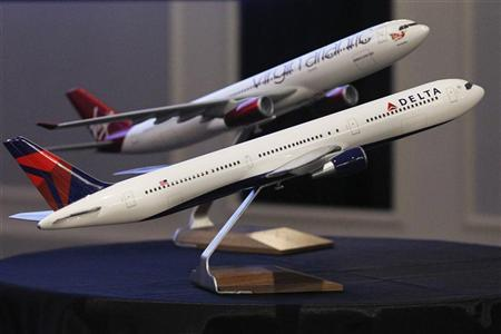 Aircraft models are seen following a news conference in New York December 11, 2012. REUTERS/Brendan McDermid