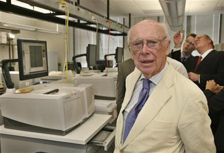 James D. Watson, co-discoverer of the DNA helix and father of the Human Genome Project, stands inside a laboratory at the Baylor College of Medicine's Human Genome Sequencing Center in Houston May 31, 2007. REUTERS/Richard Carson/Files
