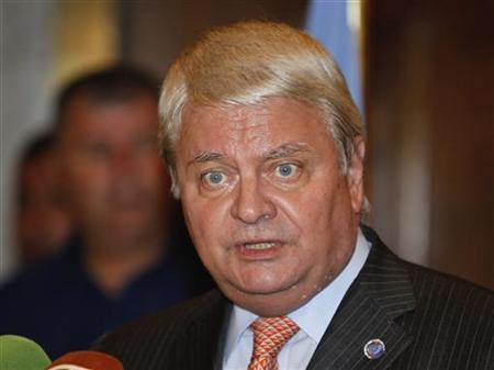 U.N. Under-Secretary General for Peacekeeping Herve Ladsous speaks during a news conference in Damascus July 26, 2012. REUTERS/Khaled al-Hariri