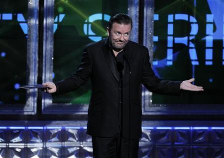 Ricky Gervais presents the award for outstanding variety, music or comedy series at the 64th Primetime Emmy Awards in Los Angeles, September 23, 2012. REUTERS/Lucy Nicholson