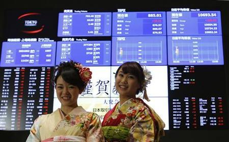 Women, dressed in ceremonial kimonos, pose for photos in front of an electronic board showing Japan's stock price index after the New Year opening ceremony at the Tokyo Stock Exchange (TSE) in Tokyo January 4, 2013. REUTERS/Toru Hanai