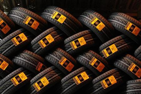 New car tyres are seen inside the Clairoix Continental tyre factory March 12, 2009 the day after announcements that the company will cut nearly 2,000 jobs and close production at two high-cost European tyre manufacturing sites amid a severe crisis in the auto industry. REUTERS/Benoit Tessier